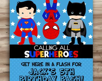 SUPERHERO Invite Superhero Invite Boys Girls superhero invitation