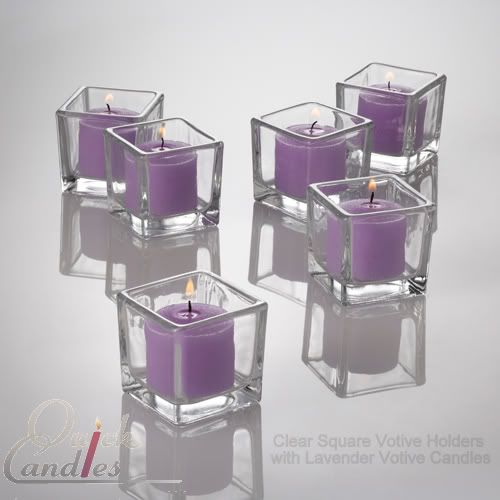 36 Lavender Votive Candles & 36 Square Glass Holders; nice to get both in one deal; $36.44 for 36; if we used 4 per table (then also tea lights) these would total for 2 sets $72.88; don't know how that compares yet