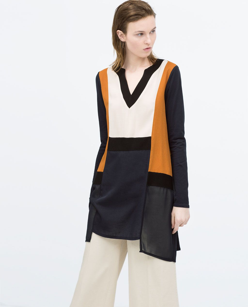 Color Block Blouse Tops Woman Zara United States