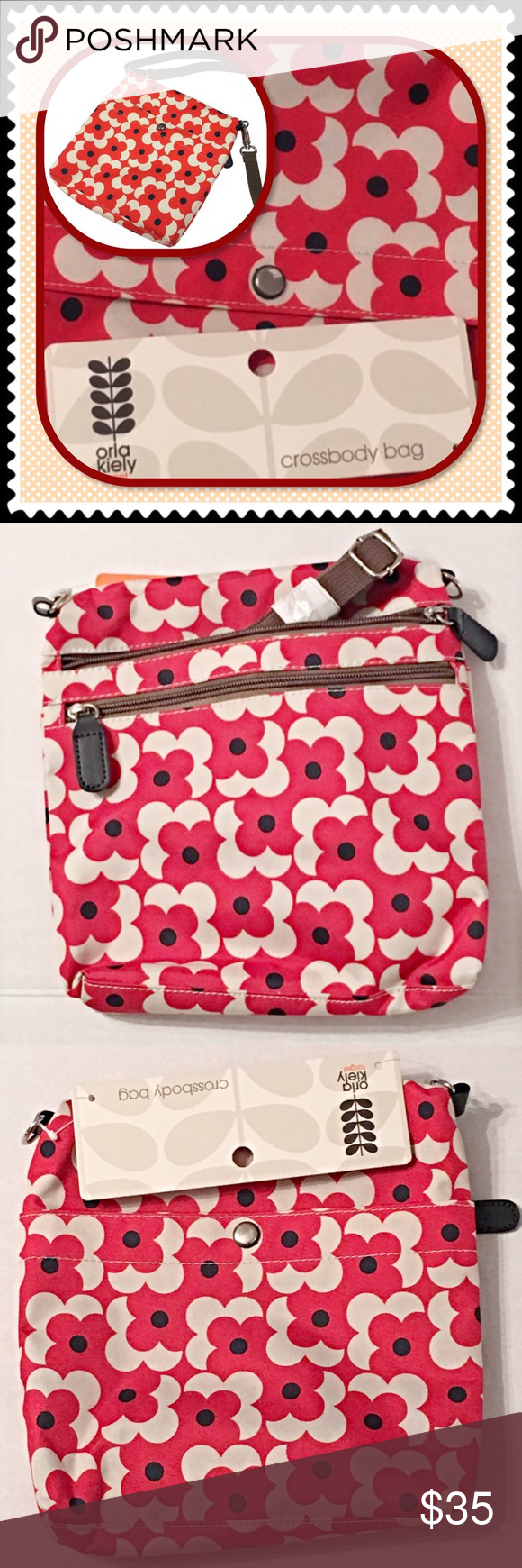Nwt Orla Kiely Crossbody Bag Target Purse Firm Price Red Shadow