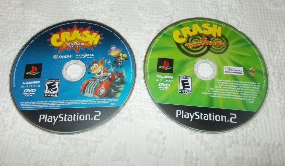 PlayStation 2 PS2 Lot of 2 Crash Bandicoot Twin Sanity Tag