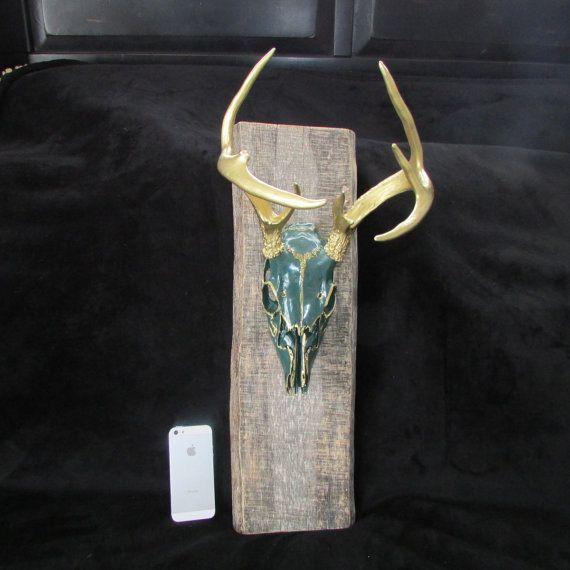 painted deer skull antlers on antique barn wood mount (jade) on Etsy, $150.00