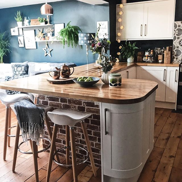 Kitchen Diner With Farrow And Ball Hague Blue Walls Brick Effect