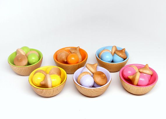 Toys For Boys To Color : Color sorting toy 18 acorns 6 bowls kids eco friendly handmade