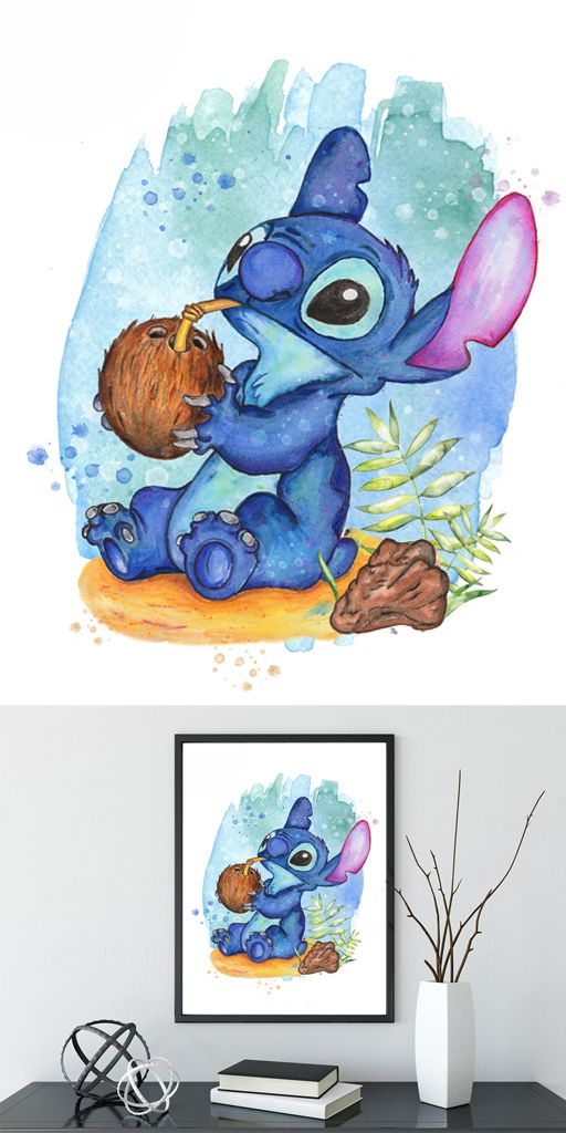 Stitch Watercolor Print Printable Lilo and Stitch Disney Print Disney Lilo and Stitch Instant Download Disney Birthday Printable #stitchdisney