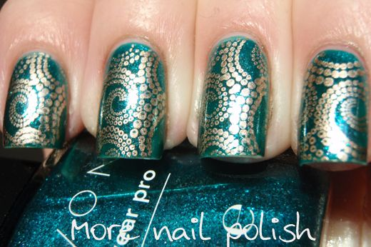 More Nail Polish: Avon Sequined Turquoise stamped