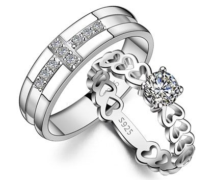 Cubic Zirconia Cross Wedding Bands and Hearts Link Rings Set in