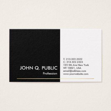 Modern professional black white gold elegant plain business card reheart Images