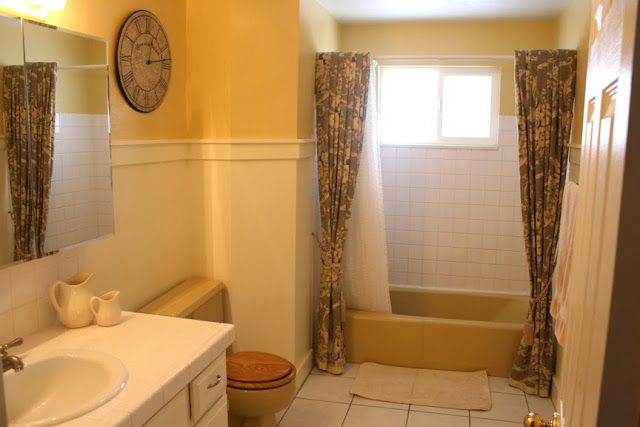 Mustard Yellow Tub And Toilet Updated Bathroom Yellow Bathroom Decor Bathroom Update Yellow Bathrooms
