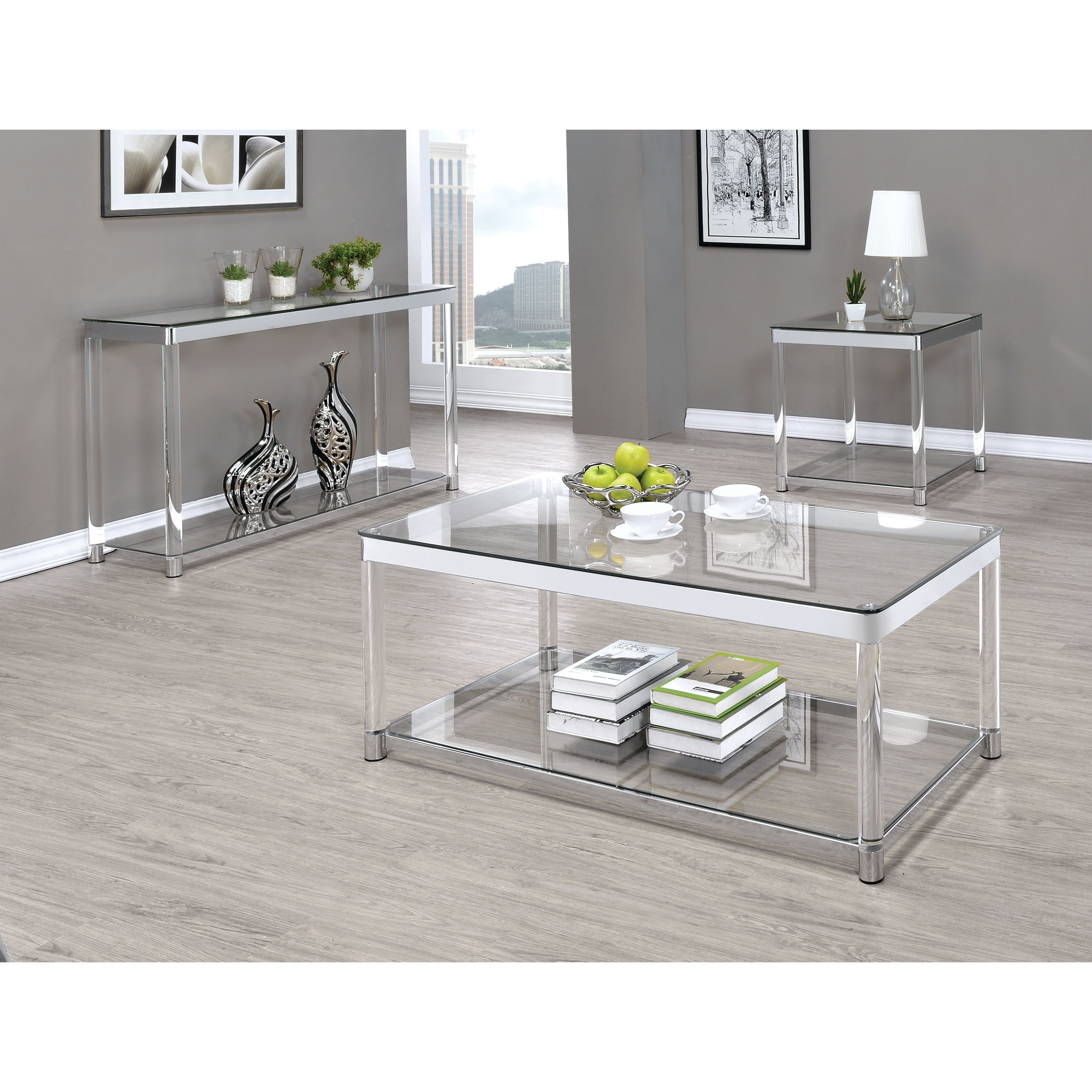 Contemporary Chrome Glass Top And Acrylic Legs Coffee Table 48