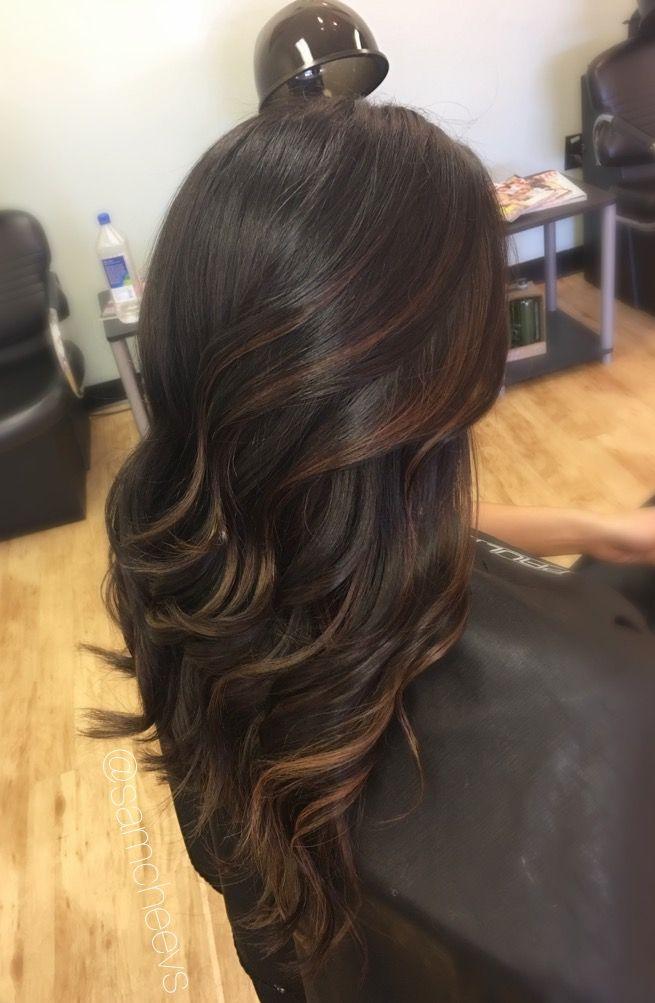 Caramel Highlights For Dark Hair Types Light Brown Highlights For Black Hair Dark Hair With Highlights Hair Styles Long Hair Styles