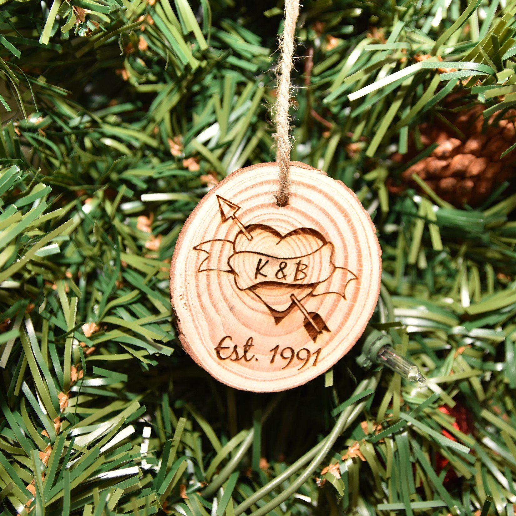 Christmas ornament wood engraved wedding anniversary