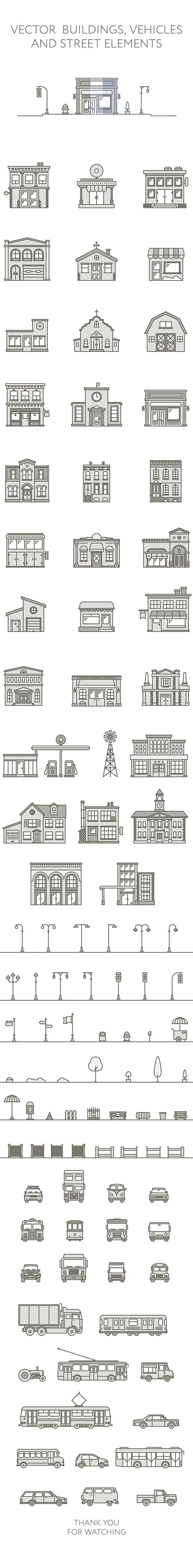 Vector buildings vehicles and street elements building illustration flat line design also patterns rh pinterest