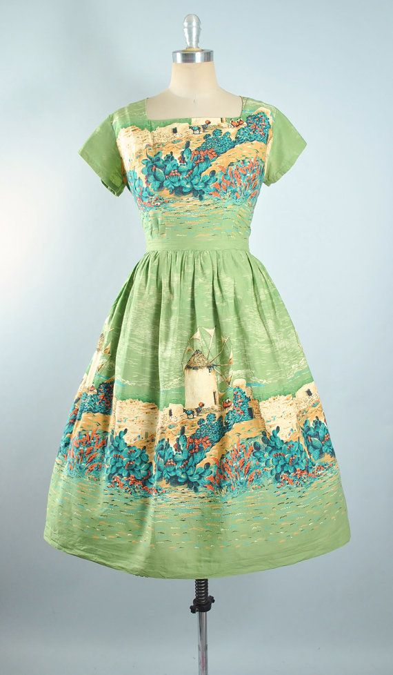 Vintage 50s Novelty Print Dress 1950s Scenic By Geronimovintage