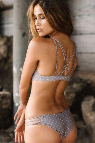 bb4c7182d4 Acacia Swimwear || La Riviera bottom in puka, grey strappy polka dot bikini