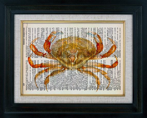 Retro Crab 01 Vintage Illustration on Book Page by classicprints, $8.95