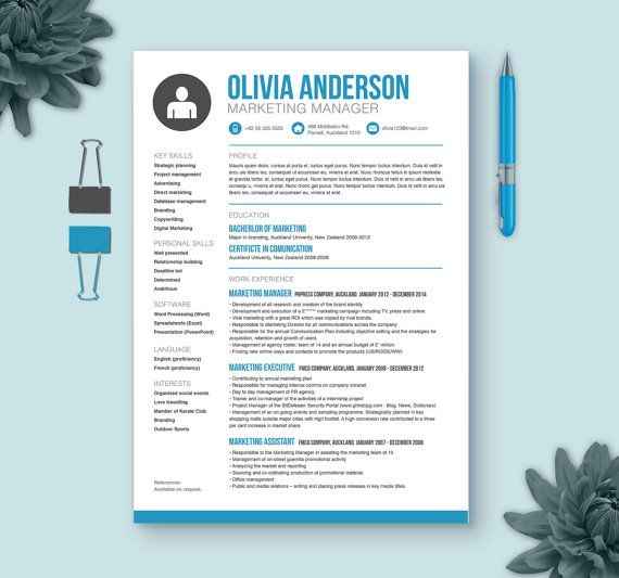 Resume Template Cover Letter Reference Page  Microsoft Word