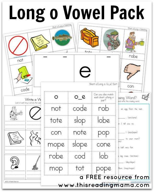Long O Vowel Pack Free Printable Phonics Kindergarten Phonics Activities Vowel Worksheets Long o silent e worksheets