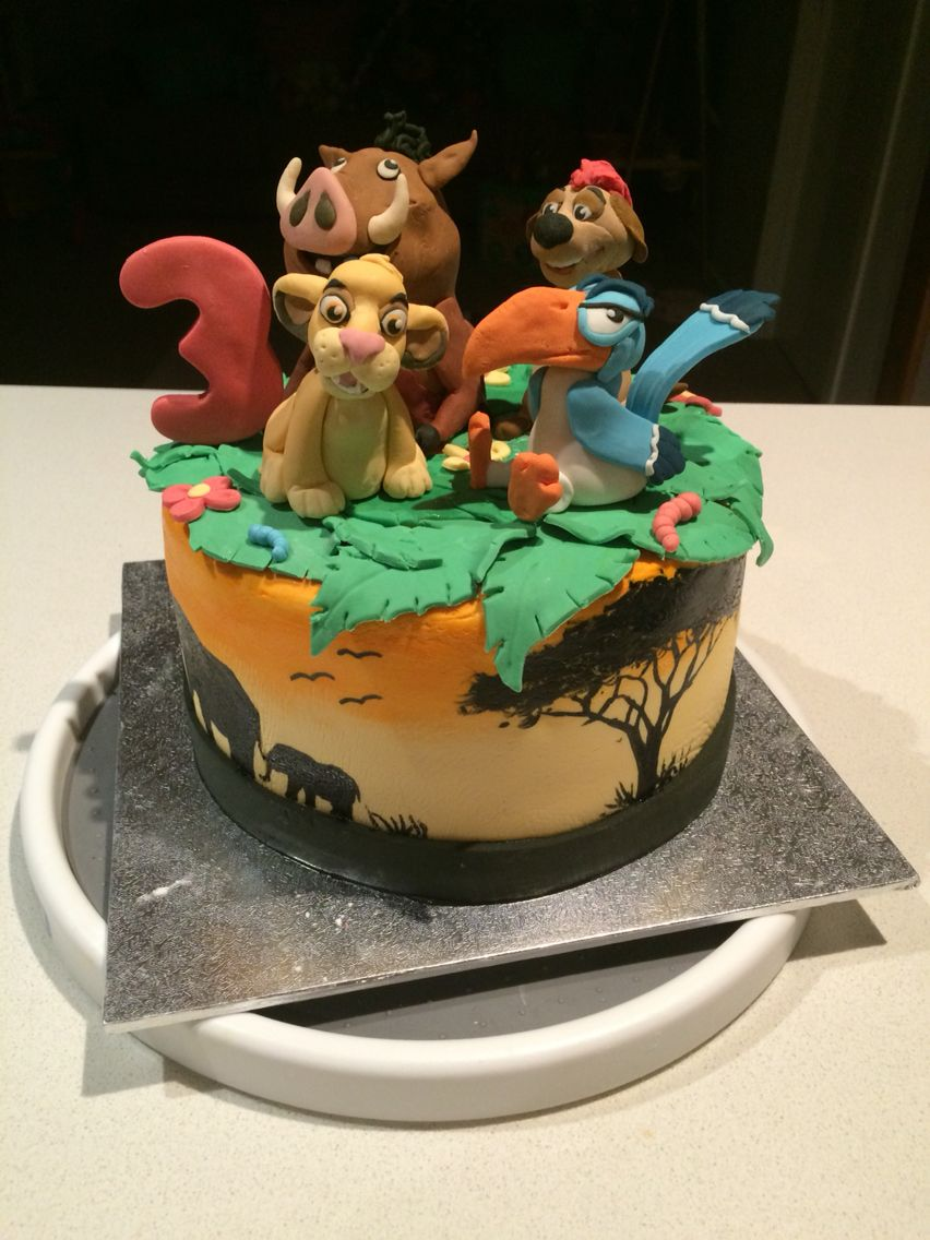 Lion King cake for my daughters 3rd birthday with Simba Pumba