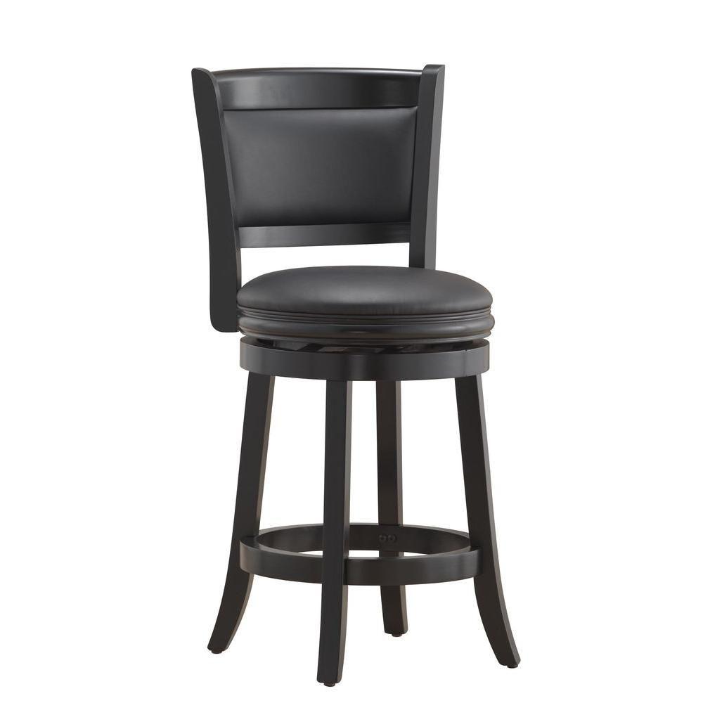 Boraam Augusta 24 In Black Swivel Cushioned Bar Stool Bar