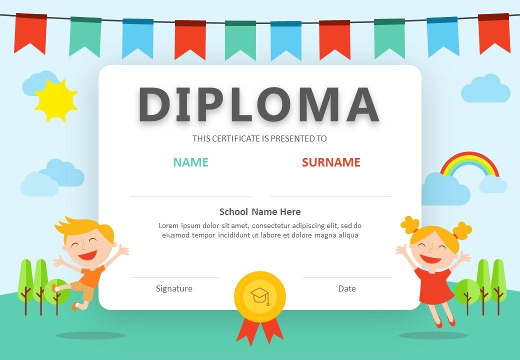 Diploma Powerpoint Certificate Diploma Design Kids Awards Certificates Diploma