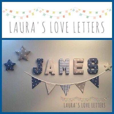 Fabric Letters Wall Art Handmade Padded