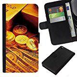 YiPhone /// Schlag-Mappen-Leder-Kasten mit Kartenslots - Gold Bar-Münzen-Geld - HTC DESIRE 816