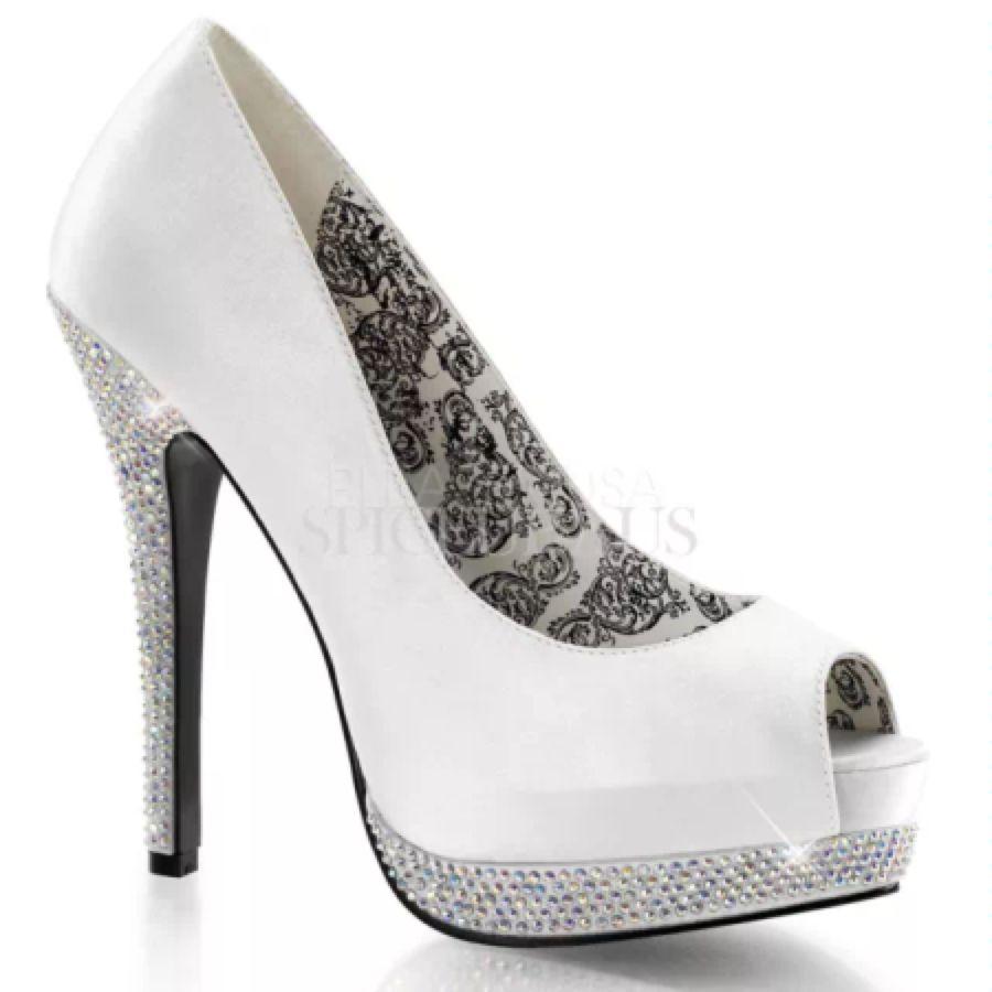 Bordello shoes bellar peep toes heels white rhinestone wedding
