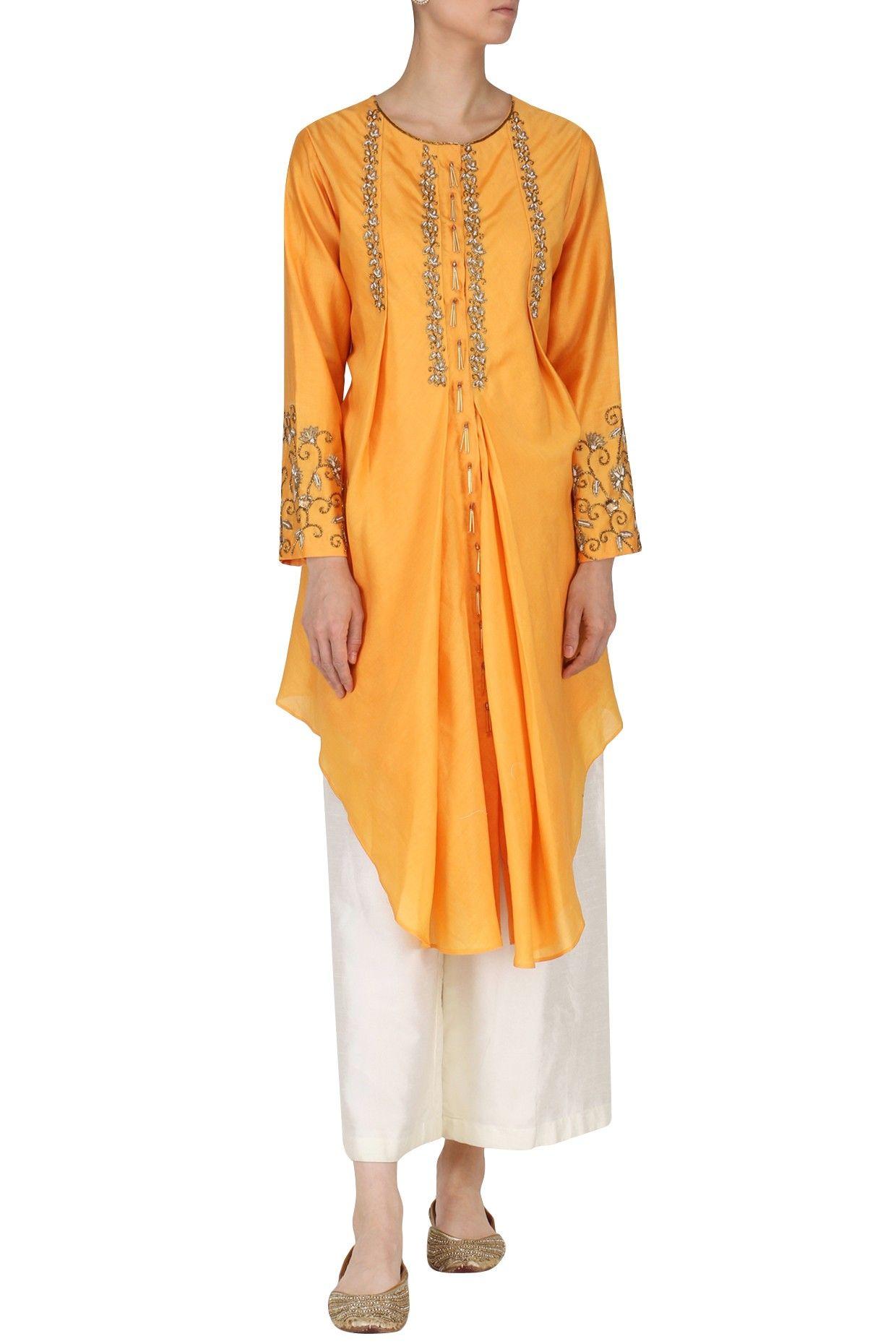 KAZMI INDIA Burnt Orange Embroidered Tunic with Palazzo Pants. Shop now!   kazmiindia  burntorange  embroidery  tunic  palazzo  ethnic  fashion ...