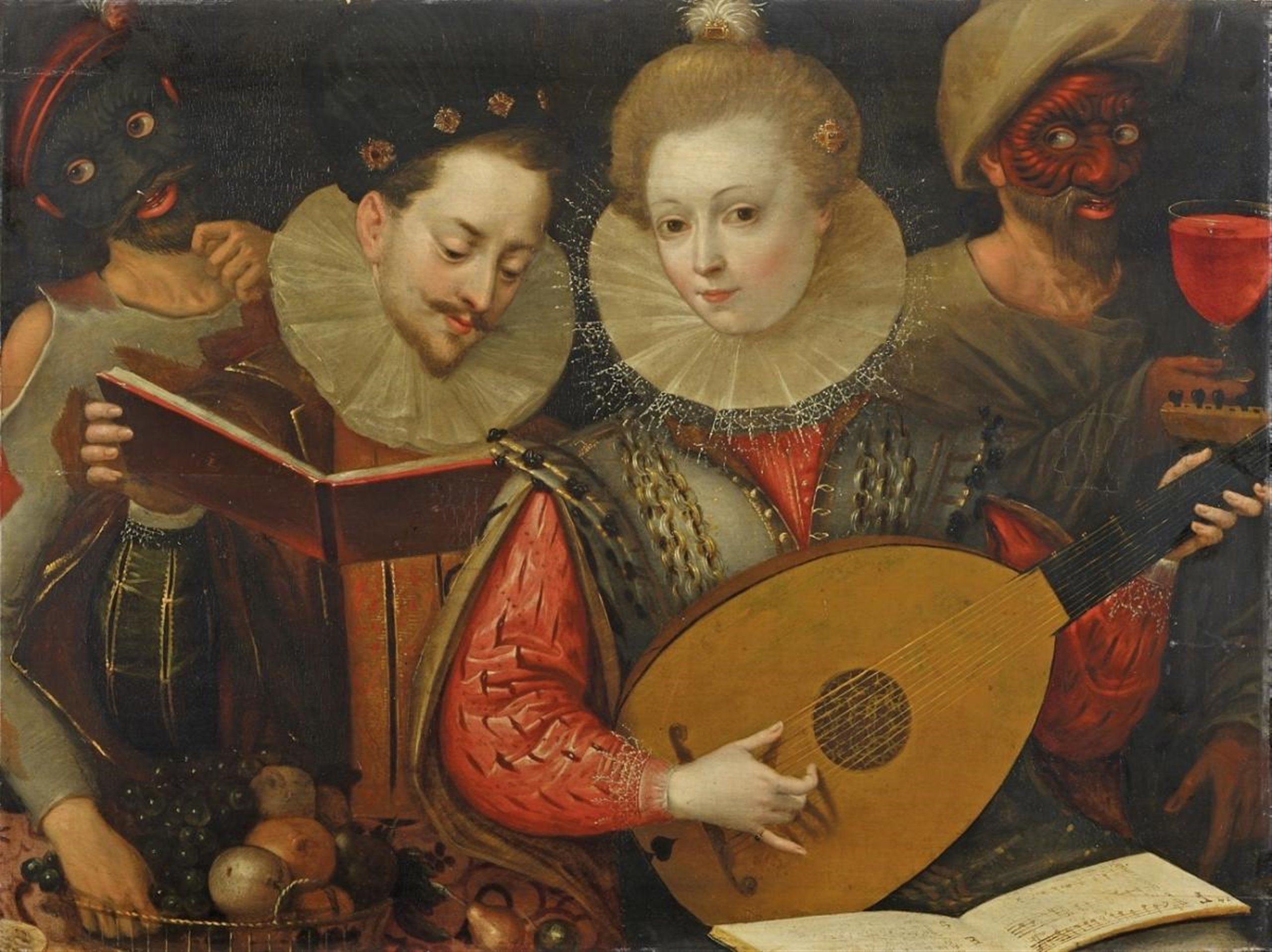 French School Second Half 16th Century Couple Playing Music