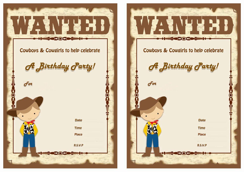 Cowboy FREE Printable Birthday Party Invitations | Birthday Party ...
