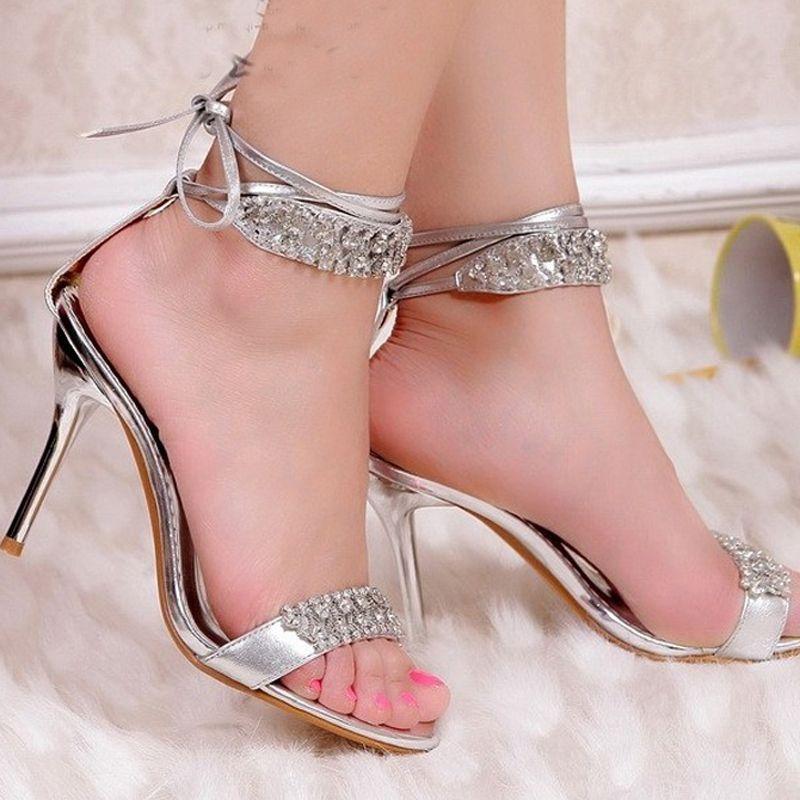 Y Silver High Heel Summer Shoes Fashion Lady Sandals Rhinestone Party Prom Wedding