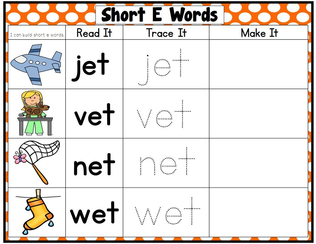 Cvc Words Short Vowel Word Families Read Trace Make