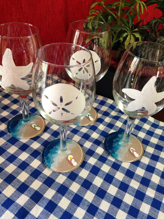 Hand Painted Beach Theme 11oz Wine Glasses On Etsy 2000 Beach