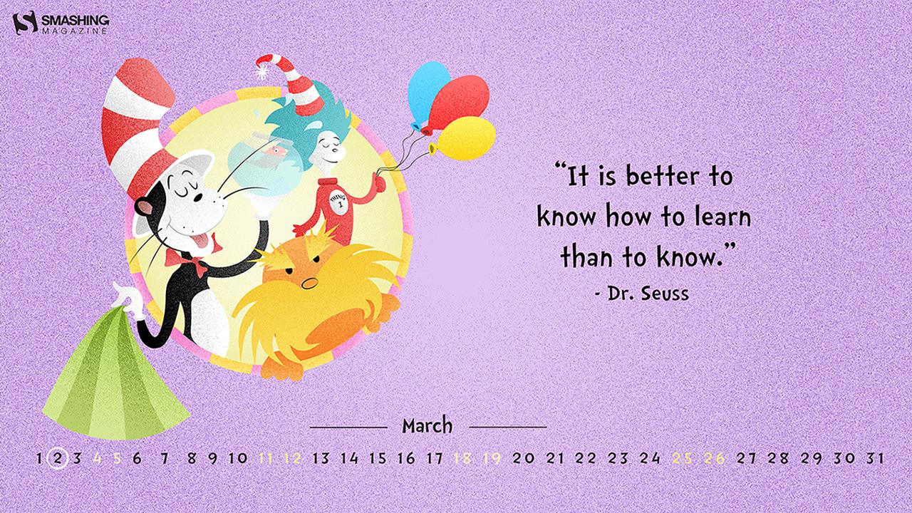 Mar 17 Happy Birthday Dr Seuss Cal 1280x720 Png 1280 720 Desktop Wallpaper Wallpaper Calendar Wallpaper