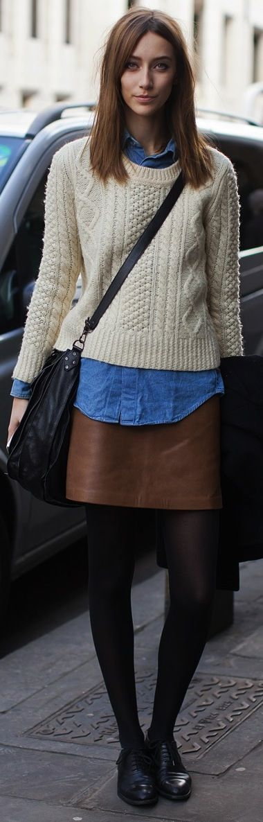 Women's Beige Cable Sweater, Blue Denim Shirt, Brown Leather Mini ...
