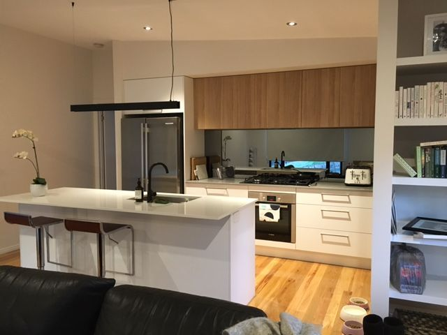 modern kitchen with island bench butlers pantry polytec natural oak revine overhead cabinets - Kitchen Overhead Cabinets