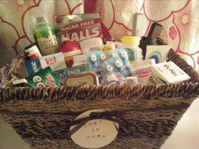 Fun bathroom basket for the guests at the reception Wedding 20