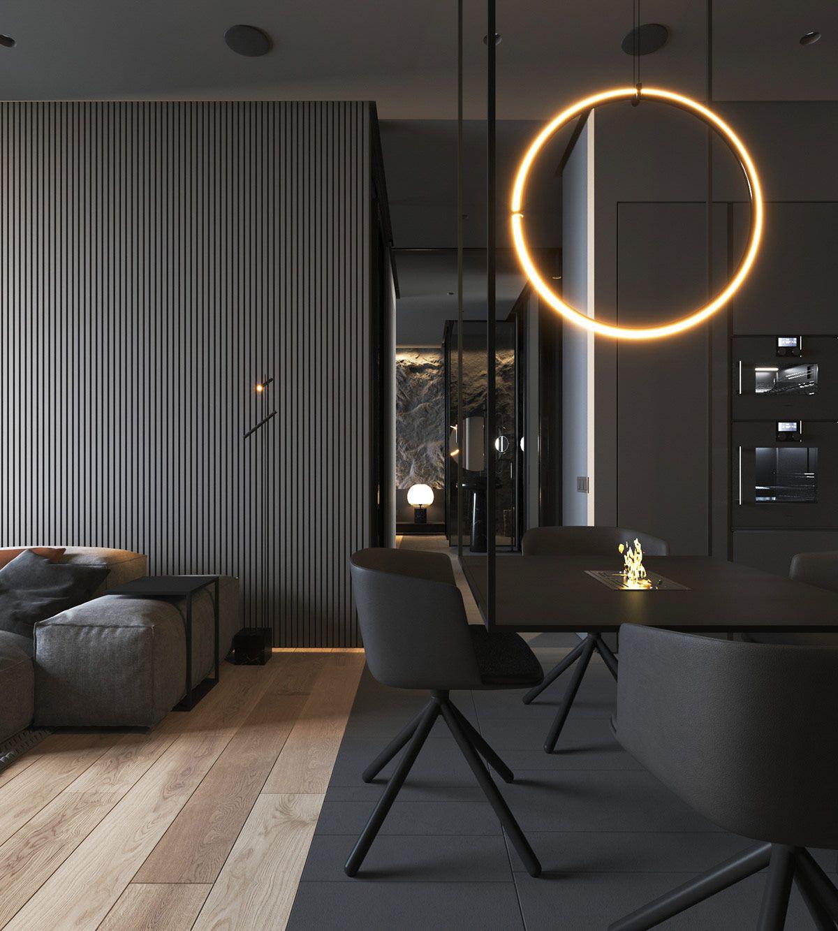 Wie Die Beleuchtung Und Texturen, Um Interesse Zu Addieren, Um Dunkle Innenräume