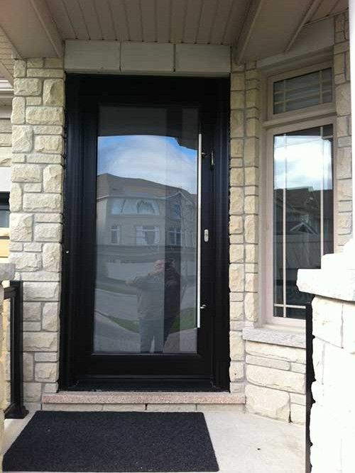 Modern Contemporary Front Fiberglass Entry Door Frosted Glass