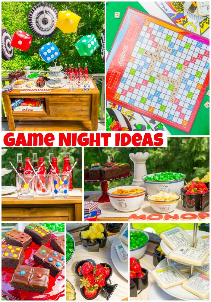 game night ideas for kids and adults board game birthday party game night parties game. Black Bedroom Furniture Sets. Home Design Ideas