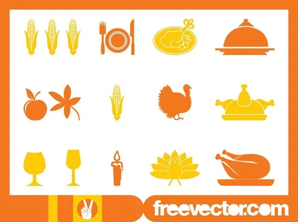 Thanksgiving Icons Set Free Vector in 2020 Thanksgiving