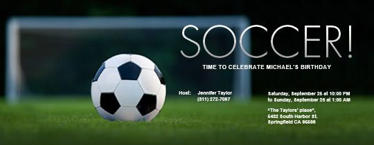 Free Online Soccer Party Invitations