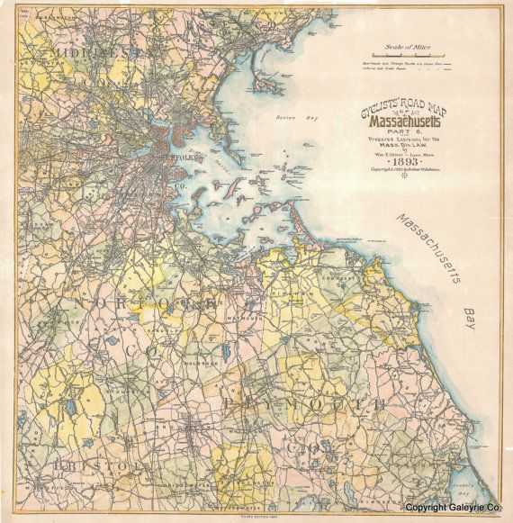 Cyclist Map from Massachusetts1893 Plate 8 by DesignerMapPrints, $49.95. Etsy has it. Questions about this www.galeyrie.com