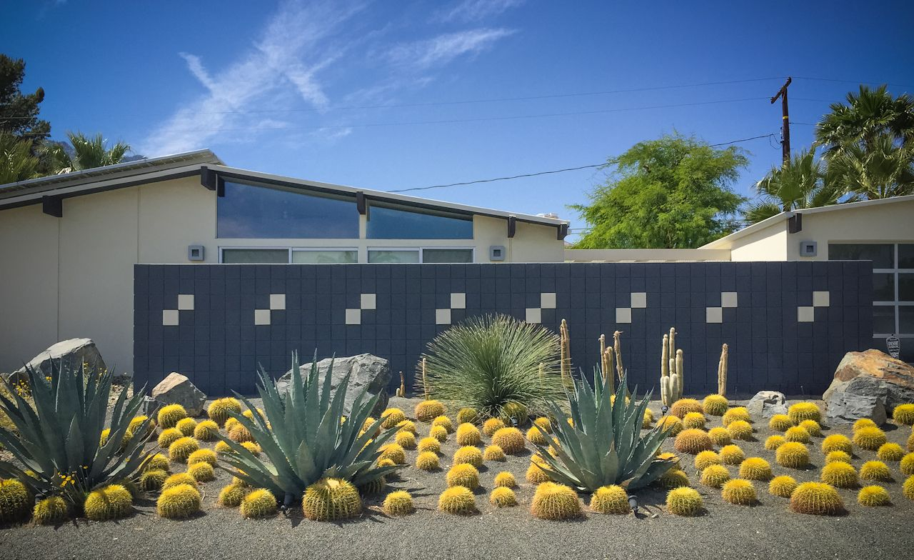 Kid friendly palm springs vacation destination eichler Modern desert landscaping ideas