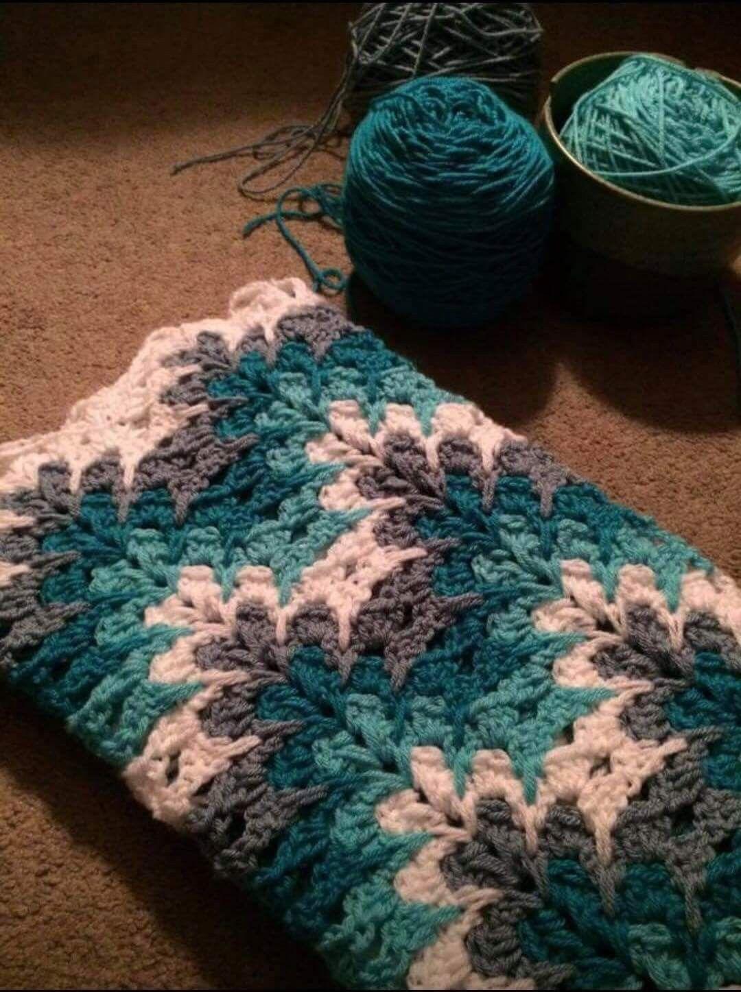 Hermosa Manta A Crochet Croch Mantas E Colchas Pinterest Chevron Pattern Diagram