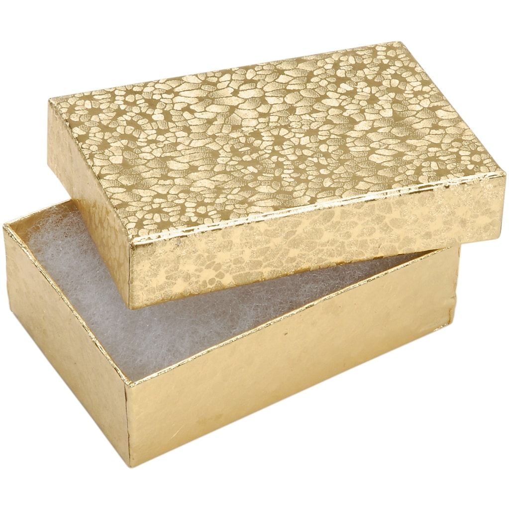 "Darice Jewelry Boxes 3X2.125""X1"" 6/Pkg-Gold - Gold"
