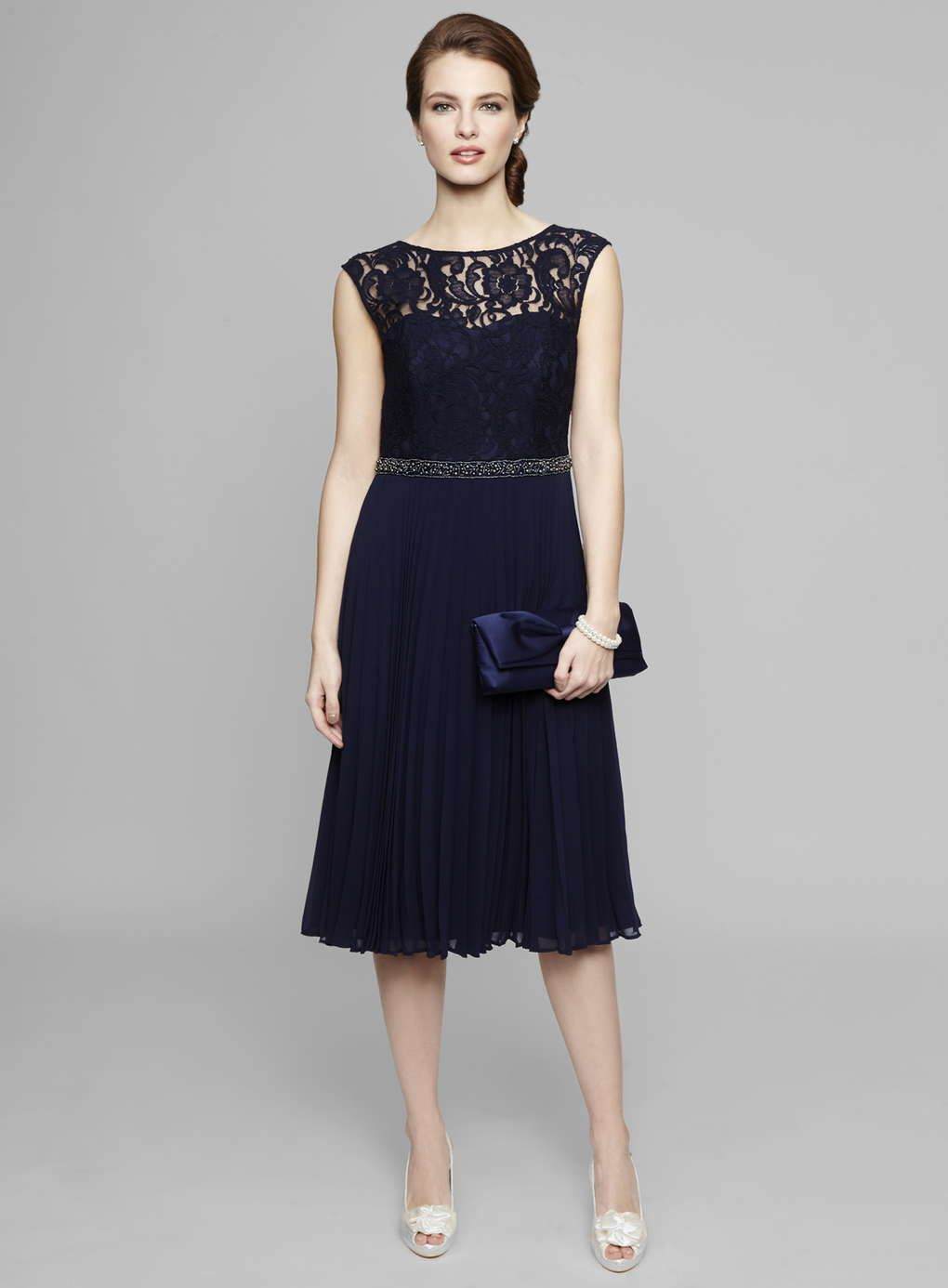 Navy louisa lace pleat bridemaids dress bhs caz wedding ideas