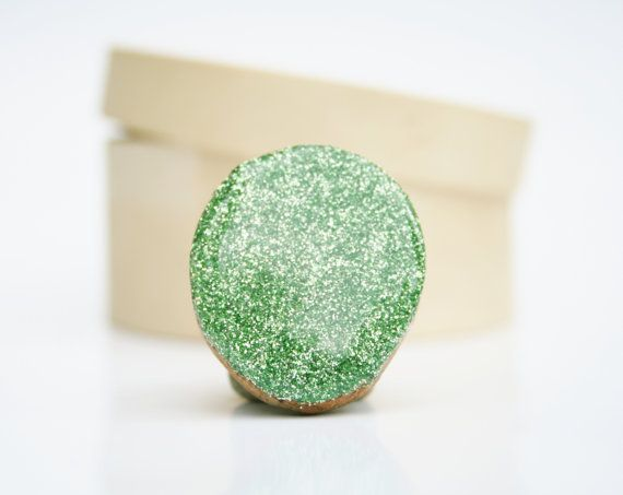 Green glitter ring statement ring chunky ring by starlightwoods, $23.75