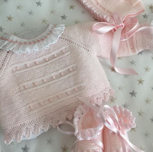 Pale pink baby sweater. Top-down raglan sleeve  garter stitch ... 28fefbf3a29
